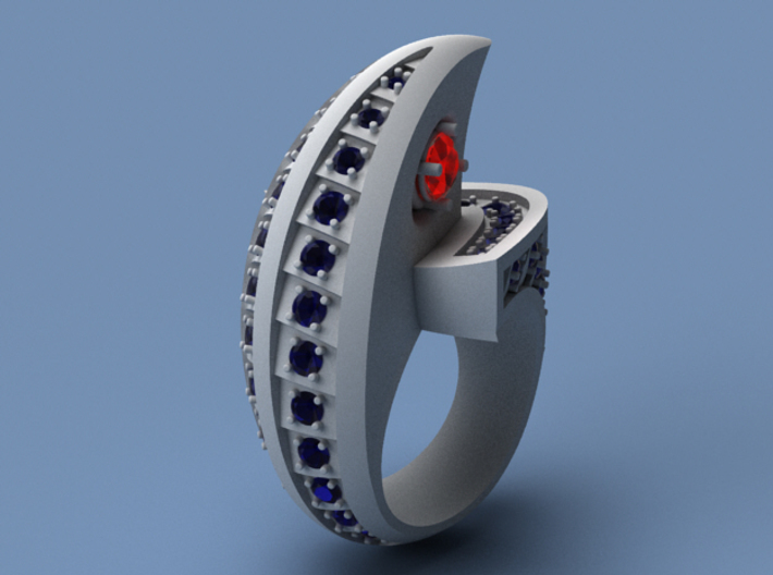 Falcon Ring with Gems - Size 12 (21.49 mm) 3d printed