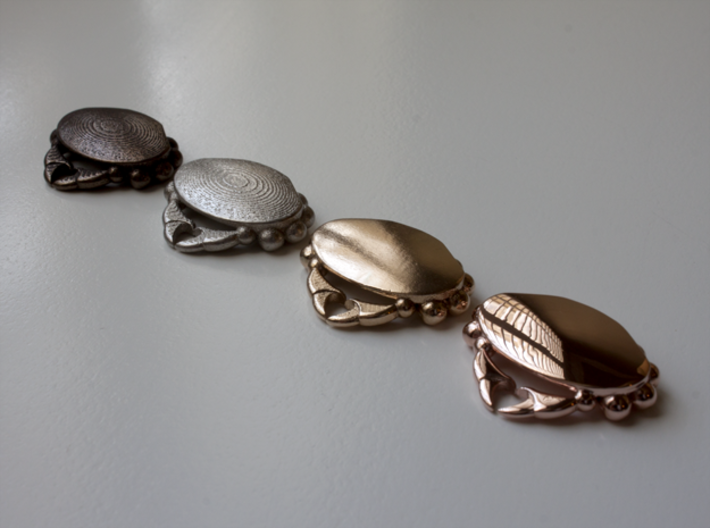 Crabby Love - Pendant 3d printed Polished Bronze Steel, Polished Nickel Steel, Raw Bronze, 14k Rose Gold Plated