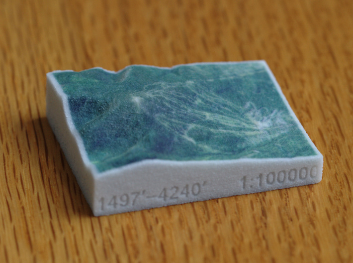 Sugarloaf Mtn, Maine, USA, 1:100000 3d printed