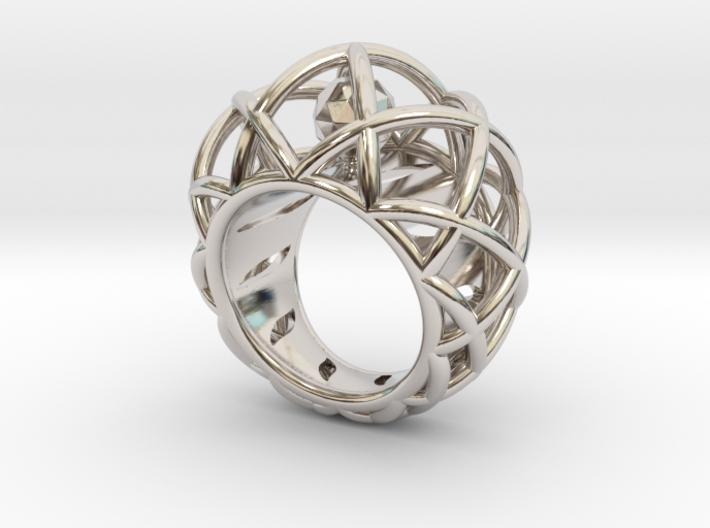 Bague Cage Géométrique Pour Export 3d printed