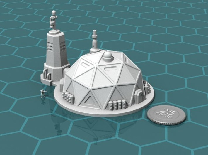Prefab Dome 3d printed Render of the model, with a virtual quarter for scale.