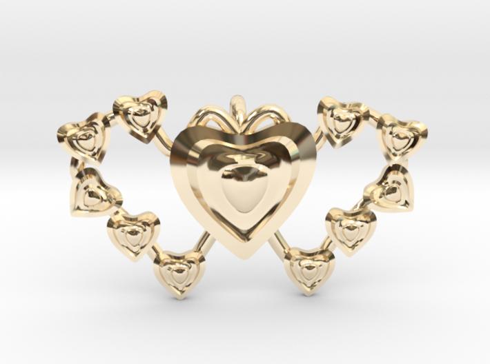 Valentine's 2 hearts Pendant 3d printed