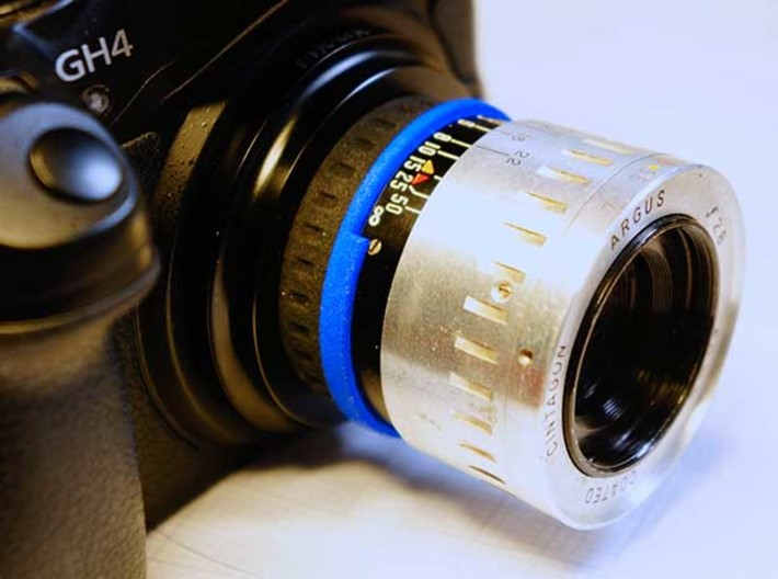 "Argus ""The Brick"" lens adapter to Leica L39 3d printed (mounted to M43 via a L39 adapter)"