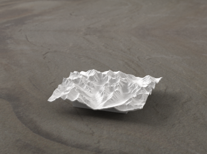3''/7.5cm High Tatras, Poland/Slovakia, WSF 3d printed Radiance rendering of model, viewed from Poland, looking SSW
