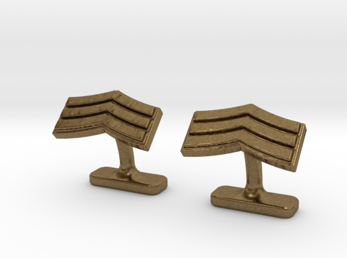 Mens sergeant 3 stripe cufflinks 3d printed