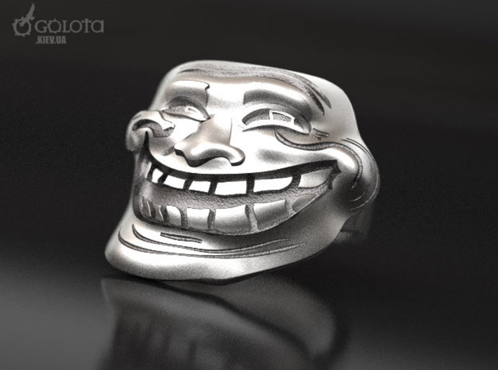 Trollface meme ring 3d printed Aftermarket Patina and lightly polished afterwards