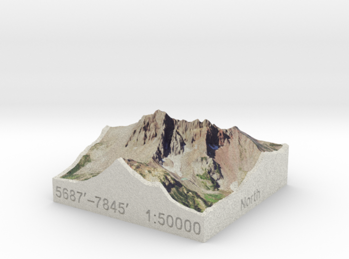Three Fingered Jack, Oregon, USA, 1:50000 3d printed
