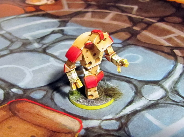 Cheese Golem - Mice & Mystics 3d printed Model hand-painted & based (front), after filing and sanding (game board with flagstones copyright Plaid Hat Games).