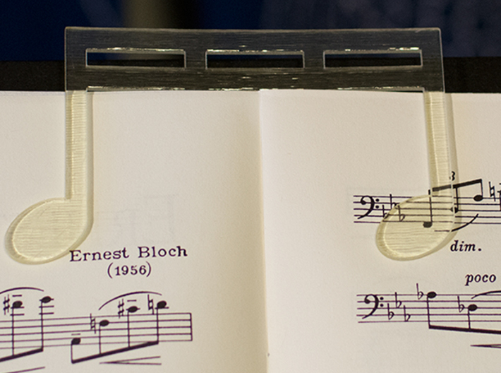 Music Book Page Holder/Clip With Custom Text 3d printed Transparent costs a little more to print but is worth the price.