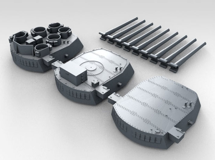 "1/600 16""/45 MKI HMS Nelson Turrets 1945 3d printed 3d render showing set"