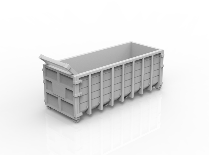 Steel Waste Container 01. HO scale (1:87) 3d printed