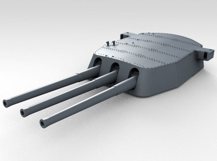 """1/700 16""""/45 MKI HMS Nelson Turrets 1927 3d printed 3d render showing A Turret detail"""