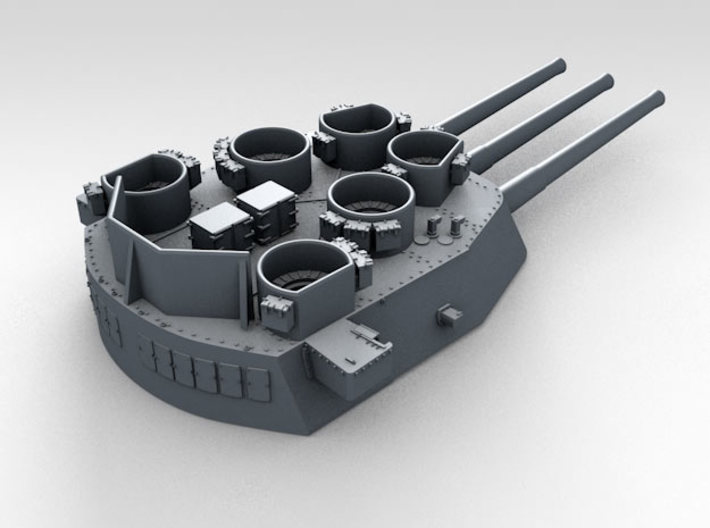 """1/700 16""""/45 MKI HMS Nelson Turrets 1945 3d printed 3d render showing X Turret detail"""