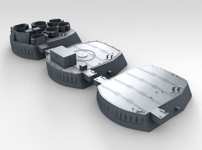 "1/200 16""/45 MKI HMS Nelson Turrets Only 1945 3d printed 3d render showing set"