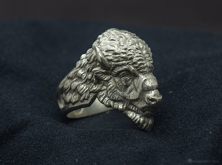 Bison Head Ring 3d printed RAW silver without blackening