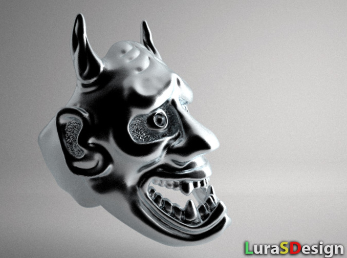 Hannya Oni Mask Ring 3d printed