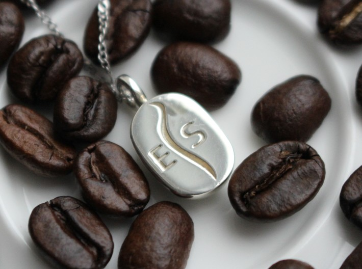 Coffee Bean Pendant 3d printed Engraved Example