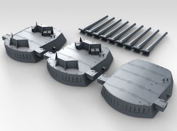 """1/600 16""""/45 MKI HMS Nelson Turrets 1940 3d printed 3d render showing set"""