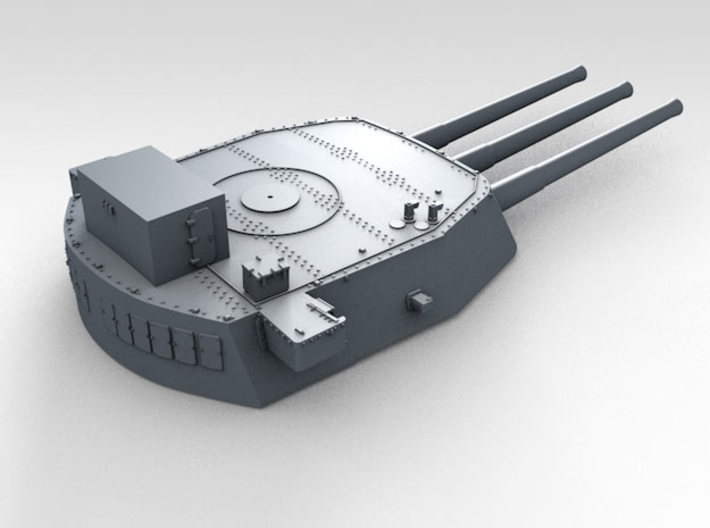 """1/700 16""""/45 MKI HMS Nelson Turrets 1943 3d printed 3d render showing B Turret detail"""