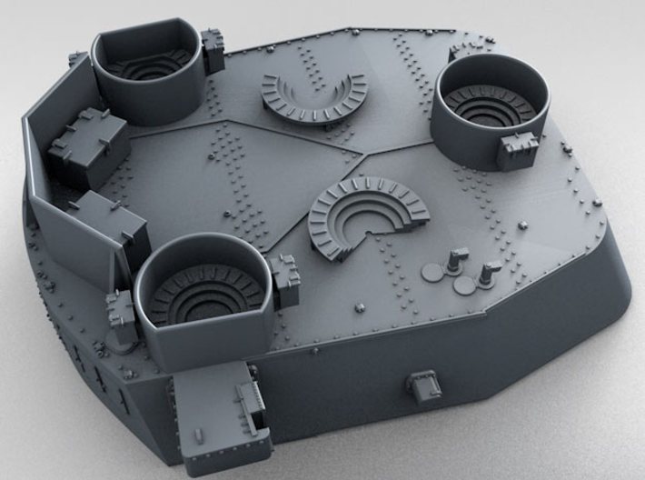 "1/350 16""/45 MKI HMS Nelson Turrets 1943 3d printed 3d render showing 1/350 splinter shield thickness"