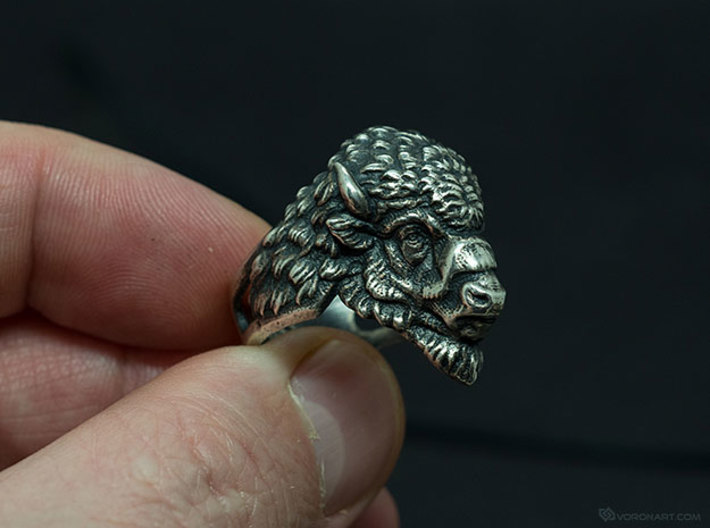 Bison Head Ring 3d printed Artificially aged (blackened) silver