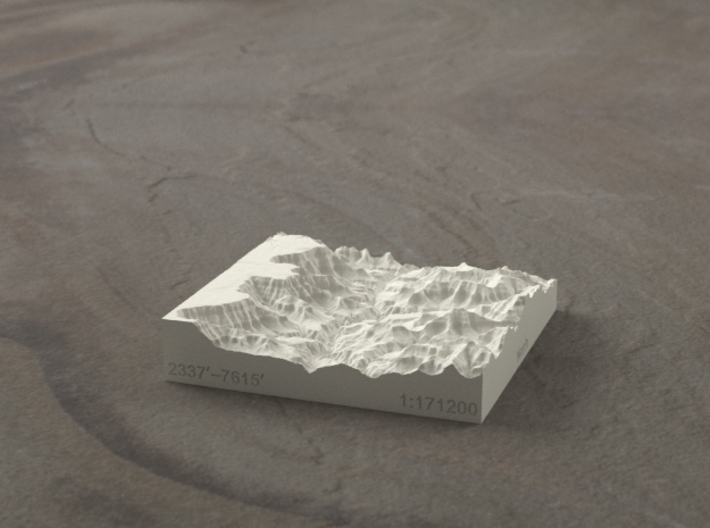 3'' Grand Canyon, Arizona, USA, Sandstone 3d printed Radiance rendering of model, looking toward the west.
