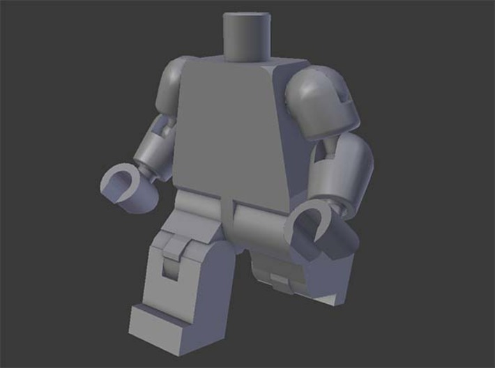 MiniFig v2 3d printed 3d render of the pieces assembled and posed.