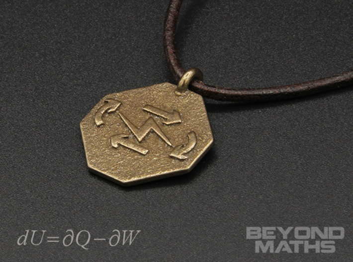 Pendant Thermodynamics First Law 3d printed Polished Bronze Steel