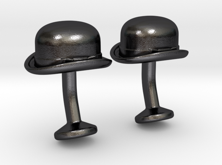 Bowler Hat Cufflinks 3d printed