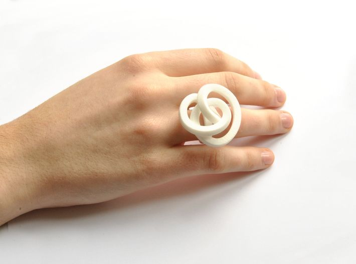 Ring Love is in the AIR (L) (from $26) 3d printed Smooth Large, elegant and sophisticated white knot ring