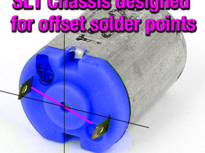 Original SL1 - Snap-In Rear Axle: HO Slot Car Chas 3d printed The Original SL1 chassis was designed for N20 motors with offset solder points. Other N20 motor variants may not fit as well.