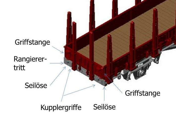 2101 1/160 Fährboot-Rungenwagen Rbmms 55 der DB 3d printed Zurüstteile
