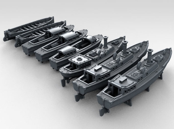 1/500 WW2 RN Boat Set 4 with Mounts 3d printed 3d render showing product detail
