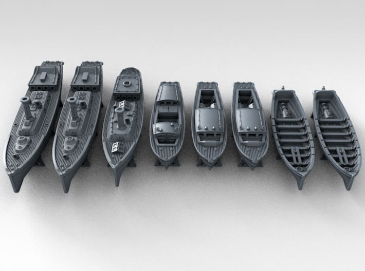 1/400 WW2 RN Boat Set 4 with Mounts 3d printed 3d render showing product detail