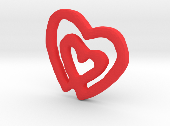 Classic Double Heart Pendant 3d printed