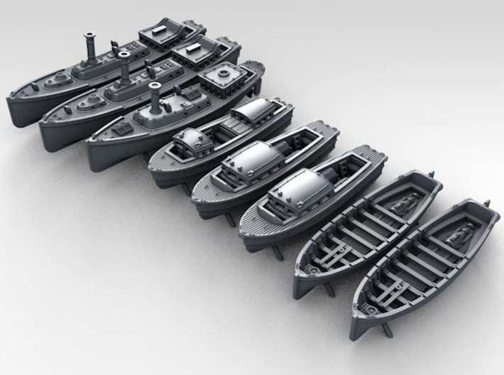 1/350 WW2 RN Boat Set 4 Without Mounts 3d printed 3d render showing product detail