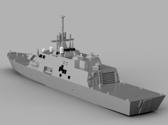 1/2000 USS Freedom 3d printed Computer software render.The actual model is not full color.