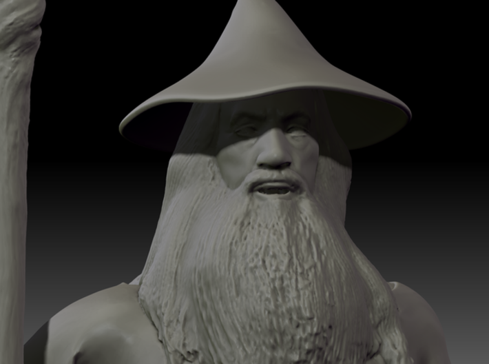 Gandalf Miniature 3d printed Close up of the face.