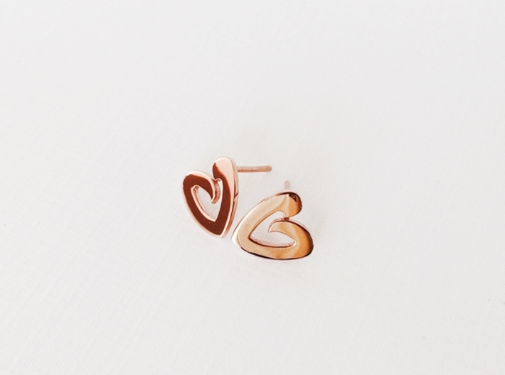 Heart Earrings - small heart post earrings 3d printed