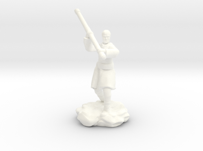 Human Monk With Staff 3d printed