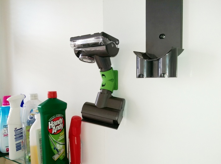 Holder For Dyson Tools V6 and earlier - Offset 3d printed Extra wall clearance