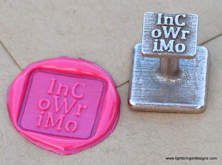 InCoWriMo Wax Seal 3d printed InCoWriMo wax seal and impression in Plumeria Pink sealing wax