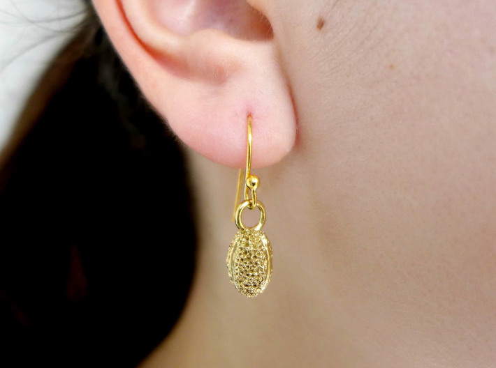 Willow Pollen Earrings - Nature Jewelry 3d printed Willow pollen earring in raw brass