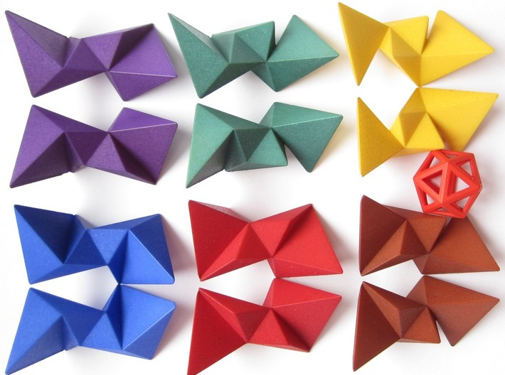 12 Different Piece Icosahedron 3d printed The 12 pieces
