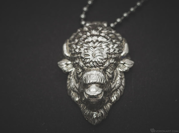 Bison Head pendant 3d printed