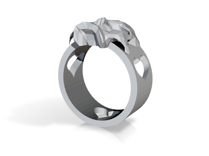 """Ring """"Heart with Skull"""" 3d printed"""