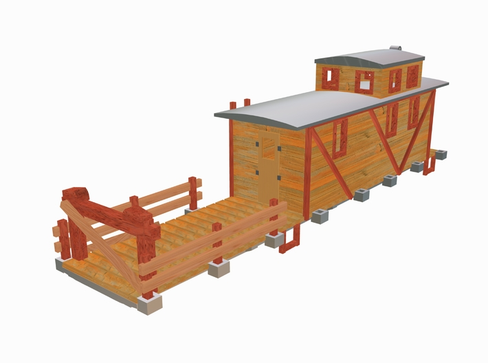 MOW 50ft Flat Car w/Caboose 3d printed 3 D Max 8 Drawing by Walter Smith