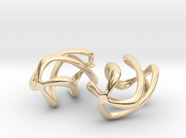 Twisty Earrings in Precious Metals 3d printed