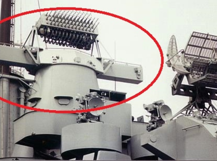 1/700 Mk.38 Directors, enlarged 7-sided shield 3d printed