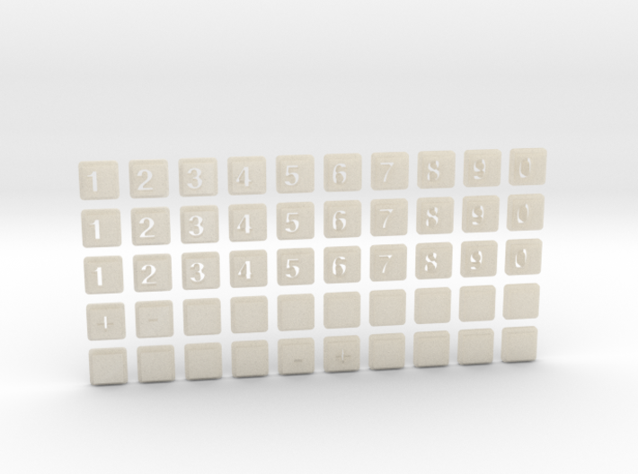 The numbers for the phone number 3d printed